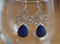 Lapis Earrings-Blue Stone Pendant Silver Plated by GlamNecessities