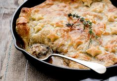 A recipe for comforting chicken and mushroom pot pie made in a single skillet.