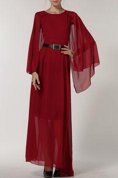 $21.30 (was $38.04). Round Neck Slit Sleeve Maxi Dress from Sammydress