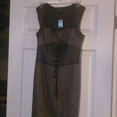 Brown Bebe Dress with Leather Wool Tweed with Built in Corsett bebe Dresses