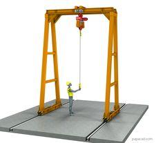 Gantry Crane plans - Download DIY Gantry crane drawings Crane Drawing, Technical Documentation, Crane Design, Autodesk Inventor, Gantry Crane, 3d Cad Models, Steel Structure, Technical Drawing, Autocad
