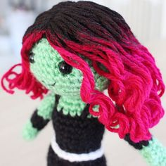 Gamora is But while I resist the urge to dye my hair pink, I can live vicariously through tiny crochet dolls. Just finished the pattern for Gamora yesterday, and it's available in the store now! Batman Amigurumi, Amigurumi Doll, Amigurumi Patterns, Crochet Patterns, Yarn Dolls, Crochet Dolls, Knit Crochet, Black Fabric Paint, Crochet Doll Tutorial