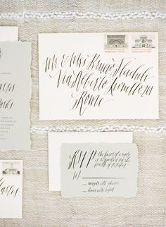 elegant wedding invitation calligraphy, photo by Marcie Meredith Photography http://ruffledblog.com/south-african-inspired-photography-workshop #weddinginvitations #envelopes #stationery