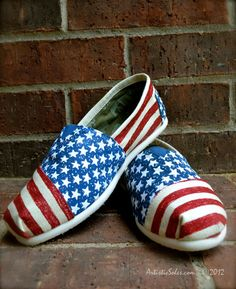 Stars & Stripes Forever Custom TOMS Shoes by Artistic Soles.   via Etsy.