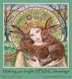 Blesséd Ostara (Spring Equinox). Beautiful painting by Wendy Andrew