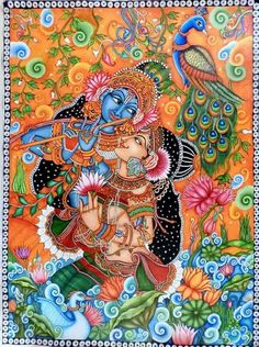 Choose your favorite kerala mural paintings from millions of available designs. All kerala mural paintings ship within 48 hours and include a money-back guarantee. Kalamkari Painting, Krishna Painting, Madhubani Painting, Krishna Drawing, Saree Painting, Pichwai Paintings, Indian Art Paintings, Landscape Paintings, Kerala Mural Painting