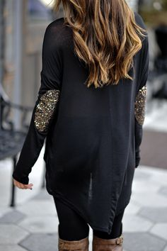 Sequin elbow patch cardi.