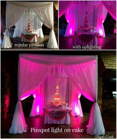 #Drape #pavilion #quinceanera #lighting #cake #wedding #option #BoydsEvent #Midland #Odessa #pretty Event Lighting, Lighting Design, Lighting Techniques, Cake Wedding, Draping, Quinceanera, Pavilion, Event Design, Tables