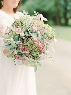 Textured country garden bouquet of spray roses, hydrangea, ammi and eucalyptus | Love My Dress® UK Wedding Blog