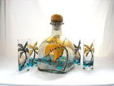 Glass Hand Painted Bottle Decanter Set Art on por SkySpiritStudios, $165.00