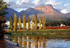 Roelof Rossouw African Paintings, Oil Paintings, Landscape Art, Landscape Paintings, South Africa Art, Artistic Tile, City Scapes, Cool Art Drawings, South African Artists