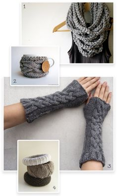 Dig those bangles  Get cozy!   1. Chunky Scarf - KraeO  2. Mug Sleeve - Natalya's Studio  3. Fingerless Arm Warmer - Nawanowe  4. Knitted Bracelet - Left Coast Knits