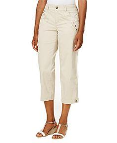 Style & Co Tab-Pocket Capri Pants, Created for Macy's - Tan/Beige 14 Petite Pants, Autumn Fashion Casual, Slim Legs, Petite Size, Capri Pants, Khaki Pants, Beige, Womens Fashion, Clothes