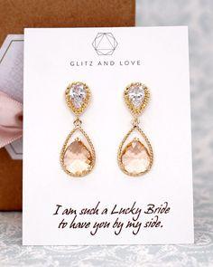 Gold Champagne Teardrop Jewelry Set, bridesmaids earrings, wedding bridal shower gifts, brides, www.glitzandlove.com