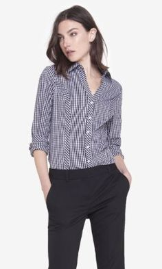 gingham long sleeve essential shirt from EXPRESS