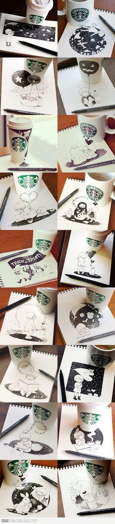 Japanese artist Tomoko Shintani loves coffee and art, so he created this series of doodles that interplay with the surfaces of various Starbucks coffee cups. - OMG.