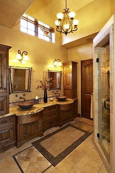 Master Bathroom. I think the only thing of change is the lighting--lights on either side of a mirror are much better because they don't cast shadows like top lights. Much better for getting ready in the morning, whether you're shaving or putting on makeup!