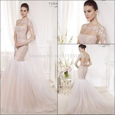 High Quality Mermaid Wedding Dresses Sexy Scoop Neck Lace Long Sleeves Backless Exquisite Beads Appliques Bridal Gowns W01382