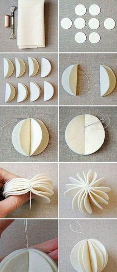 フェルトで優しい雰囲気に。  丸く切りぬいたフェルト8枚をそれぞれ半分に折り、折り目に沿って刺繍糸で縫い合わせていきます。 丸くボリュームある雪のようなオーナメントが完成。