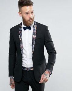 ASOS Super Skinny Suit Jacket in Black With Dark Floral Trim