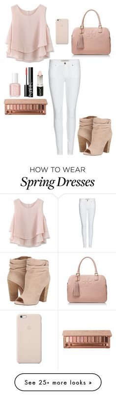 """pretty in pink"" by graceg372 on Polyvore featuring Chicwish, Urban Decay, Boohoo, NARS Cosmetics, Black Apple, Essie, Tory Burch, Burberry and Chinese Laundry"