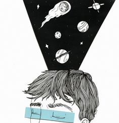 art, black and white, drawing, planets, stars