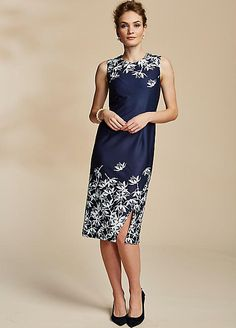 Kaleidoscope Sz 12 Navy Blue Embroidered Prom Special Occasion DRESS £100 Party