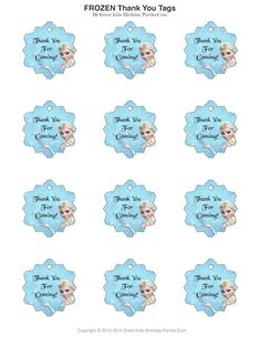 Frozen Party - thank you tags