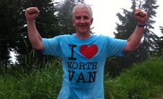 Barry Forward at the top of the Grouse Grind sporting a coveted I Love North Van T-Shirt.
