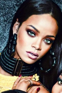 Rihanna statement jewelry, tribal look, bronzed makeup Saint Michael, Rihanna Makeup, Rihanna Riri, Rihanna Vogue, Rihanna Music, Rihanna Daily, Black Is Beautiful, Beautiful People, Simply Beautiful