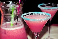 colored sugar! This would be cool at the party have punch instead of an acholic beverage!