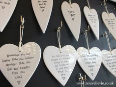 Porcelain message hearts by East of India. Perfect gifts and keepsakes. Buy in our shop in Heaton, Newcastle upon Tyne or buy similar items on our website.