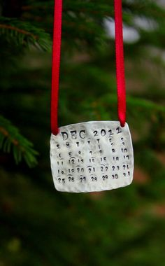 Christmas Decorations, Personalized, Calendar, 2012 Advent Calendar Ornament, Silver Rectangle Ornament, Gift For Co-Workers Friends,. $33.00, via Etsy.