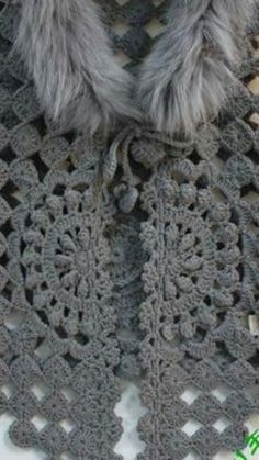 """Crochet Vest - Detailed graphs and layout. Very very cool. Has circular motif on the back also. In the original, the second row of the circle pattern connected """"popcorn"""": Crochet Bolero, Pull Crochet, Gilet Crochet, Mode Crochet, Crochet Diy, Crochet Motifs, Crochet Jacket, Crochet Woman, Crochet Cardigan"""