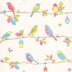 """Brewster Home Fashions Kids World Social Birdie  33' x 20.5"""" Quilted Birds Wallpaper Color: White"""
