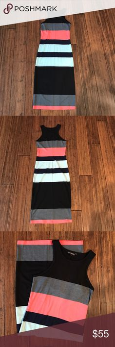 NWOT Express Colorblock Bodycon Dress BRAND NEW - NEVER WORN - NWOT Express Colorblock Dress. 62% polyester, 32% rayon, 6% spandex. This is unlined - may require shapeware. Express Dresses Midi