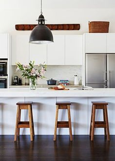 Modern Kitchen Interior Solid timber works beautifully with white and if looked after, will last and last Kitchen Ikea, White Kitchen Cabinets, Kitchen Cabinet Design, Home Decor Kitchen, Kitchen Interior, New Kitchen, Home Kitchens, Country Kitchen, Kitchen Modern