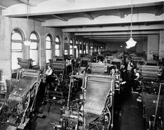 1930 - GPO operated the world's largest battery of Linotype machines, which cast an entire line of type at a time from molten lead.