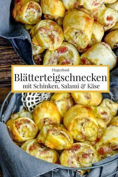 Quick party recipe: puff pastry snails with ham, s Schnelles Party Rezept: Blätterteigschnecken mit Schinken, Salami und Käse. Puff pastry snails with ham, salami and cheese recipe # Puff pastry - Seafood Recipes, Snack Recipes, Dinner Recipes, Chicken Recipes, Beef Recipes, Recipe Chicken, Meatloaf Recipes, Salmon Recipes, Fish Recipes