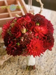 red dahlia, rose hydrangea bouquet - I like one of the flowers in this one but no roses
