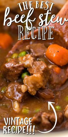 This old-fashioned beef stew is a hearty, homemade favorite straight from grandma's recipe box. Filled with tender piece Best Beef Recipes, Stew Meat Recipes, Crockpot Recipes, Slow Cooker Recipes, Cooking Recipes, Irish Recipes, Beef Pieces Recipes, Stewing Beef Recipes, Cubed Beef Recipes