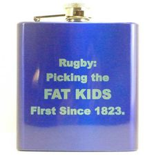 Drinking flask with Funny Rugby Saying by TikalskyLaser on Etsy, $12.00