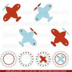 Clip Art Set Airplanes and Stars Red and by papertreehousestudio