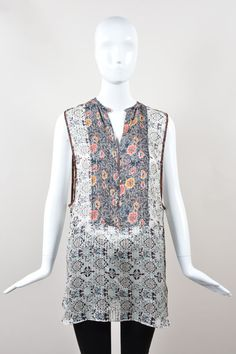"Isabel Marant NWT $620 Multicolor Silk Floral Print ""Amanda"" Tank Top SZ 42 #IsabelMarant #Tunic #Casual"