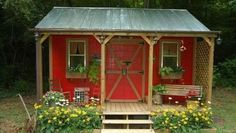 It can be a regular shed or a bright red cottage... She Shed