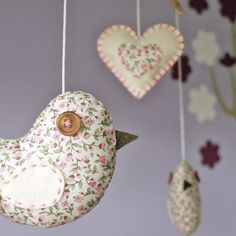 cute birds mobile baby room - hanging nursery decor -  pink, antique white -  with felt heart. $37.00, via Etsy.