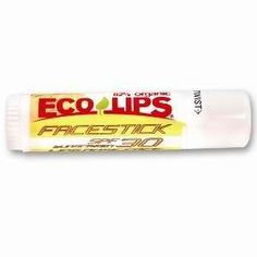 Eco Lips Face Stick SPF 30 Sunscreen 0.56 oz tube by Eco Lips. $5.99. 82% Organic. Facestick sunblock. SPF 30. For lips, nose, face. SPF 30 Protection for your lips, nose, and face in a jumbo (.56 oz) tube! Seriously, what could be easier than this? Get a few: one for the golf bag, one for the boat, and one in every backpack.  .56 oz Tube.  Main Ingredients: *Organic Sunflower Oil, *Organic Beeswax, *Organic Jojoba Oil, *Organic Coconut Oil, *Organic Cocoa Butter, V...