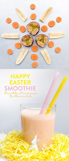 Smoothie Monday: Happy Easter smoothie or more carrots for the Easter bunny - on holidays . the good life - Happy-Easter Smoothie Smoothie Drinks, Smoothie Bowl, Smoothie Recipes, Detox Drinks, Nutritious Smoothies, Healthy Drinks, Goji, Strawberry Smoothie, Le Diner