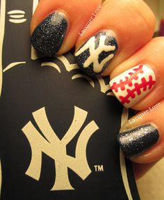 This only in Tampa Bay Rays Theme. Yankees Nails, Ny Yankees, Nails For Kids, Spring Training, Bling Nails, Texas Rangers, Creative Nails, Dodgers, Tampa Bay