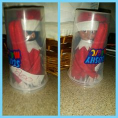 Elf on the shelf idea  Silly girl got stuck in a slushy magic cup